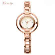 KIMIO Double Ring dial Diamond Scale Jewelry Bracelet Fashion Womens Watches Top Brand 2016 Rose Gold Wrist Watches For Women(China (Mainland))