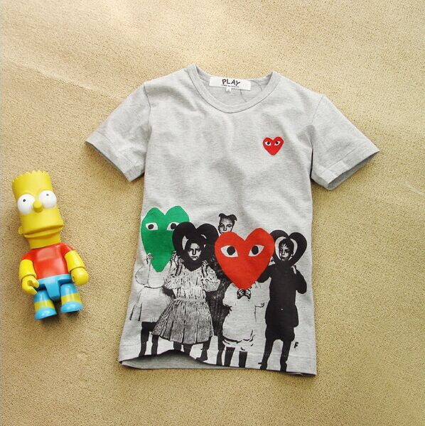 Love Play COMME Des GARCONS CDG PLAY United Love  Short Sleeve Tee T Shirts 2 Color 100% cotton Size:S- XL(China (Mainland))