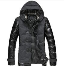 2015 Men's Casual Cotton Padded Coat W/hood Patchwork PU Sleeve Mens Winter Jackets And Coats Stylish Jaqueta Inverno Masculina
