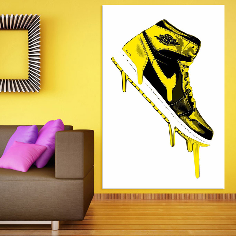 hand painted oil painting shoe Banksy Graffiti Street Art canvas pop art Graffiti street art on canvas Living room decor(China (Mainland))