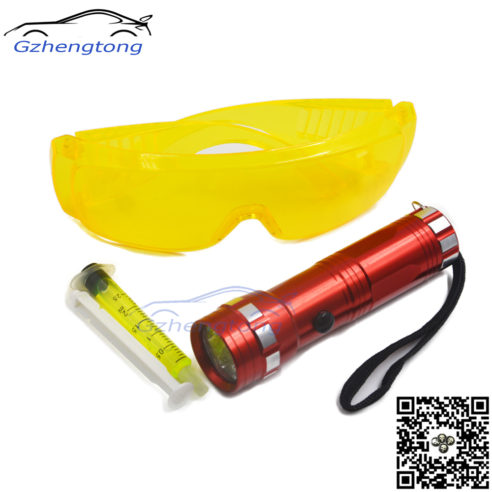 3-in-1 Automotive Air Conditioning Repair Tool Kit Leaks Flashlight Kit R134a R410 R12 Car Fluorescent Oil with Leak Glasses(China (Mainland))