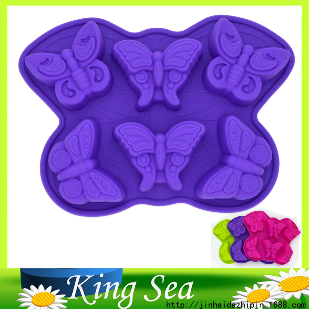 Large Butterfly Shape Cake Tools Silicone Butterfly Cake Pan 6 Cavity Cake Mold DIY Decorating Tools Jelly Mold, Ice Cream Maker(China (Mainland))