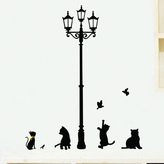 Black DIY Home Decor Cat Bird Lamp Wall Sticker stickers for Kids room Poster adesivo de parede decals adesivos decorativos(China (Mainland))
