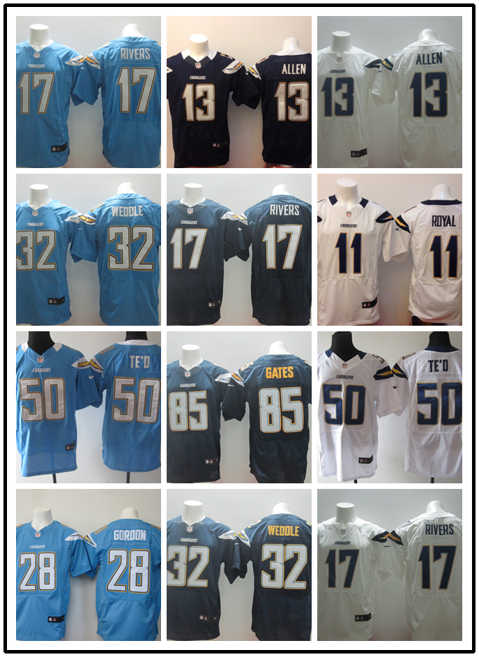 Stitiched,San Diego Chargers Antonio Gates Eric Weddle Keenan Allen Manti Te'o Philip Rivers royal(China (Mainland))