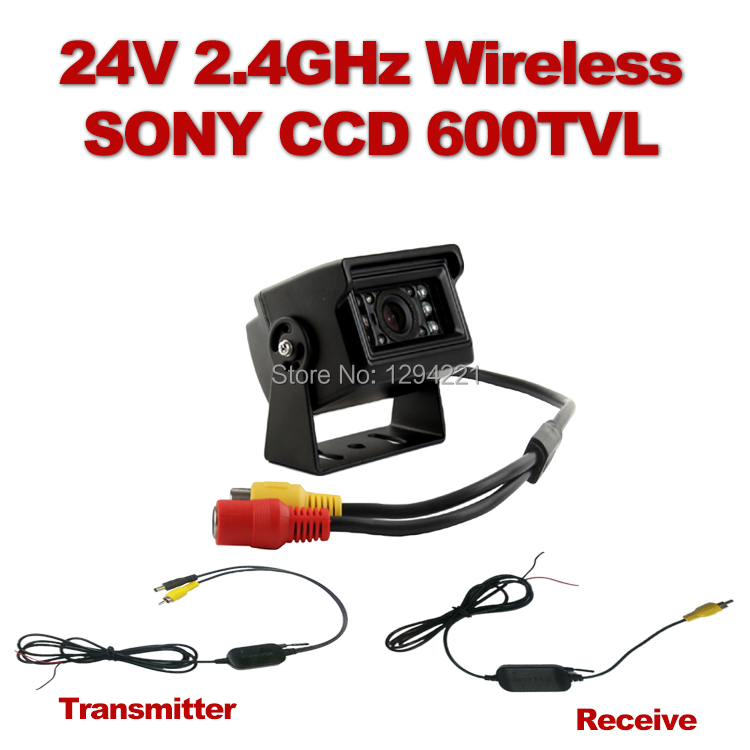 Wireless 24V 2.4GHz Bus ,Truck Waterproof Ir Night vision Sony 600TVL ccd Camera ,Backed up Packing Rearview Kit(China (Mainland))