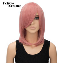 40cm Straight Pink Wig Cosplay Short European & American Fashion Heat Resistant Synthetic Wigs High Quality Synthetic Short Wigs(China (Mainland))