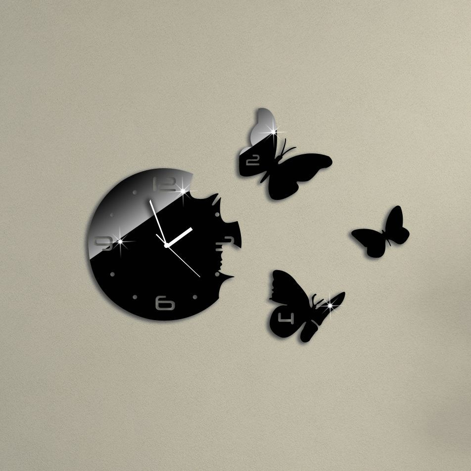 2015 Hot Sale 3D DIY Mirror Wall Clock Modern Design For Living room Kitchen Watch Wall Sticker Home Decoration Reloj De Pared(China (Mainland))