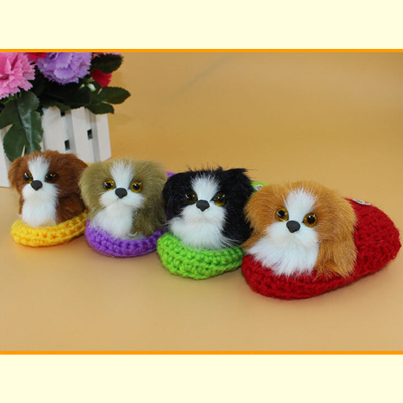 artificial dog toy, poodle puppy in slipper,cute doggy,no mess,fun sweet doll toys gift for child girls kids(China (Mainland))