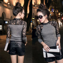 COCKCON LOWEST PRICE Lady Women Lace Long Sleeve shirt Slim Knitwear Leather Crew Neck Tops(China (Mainland))