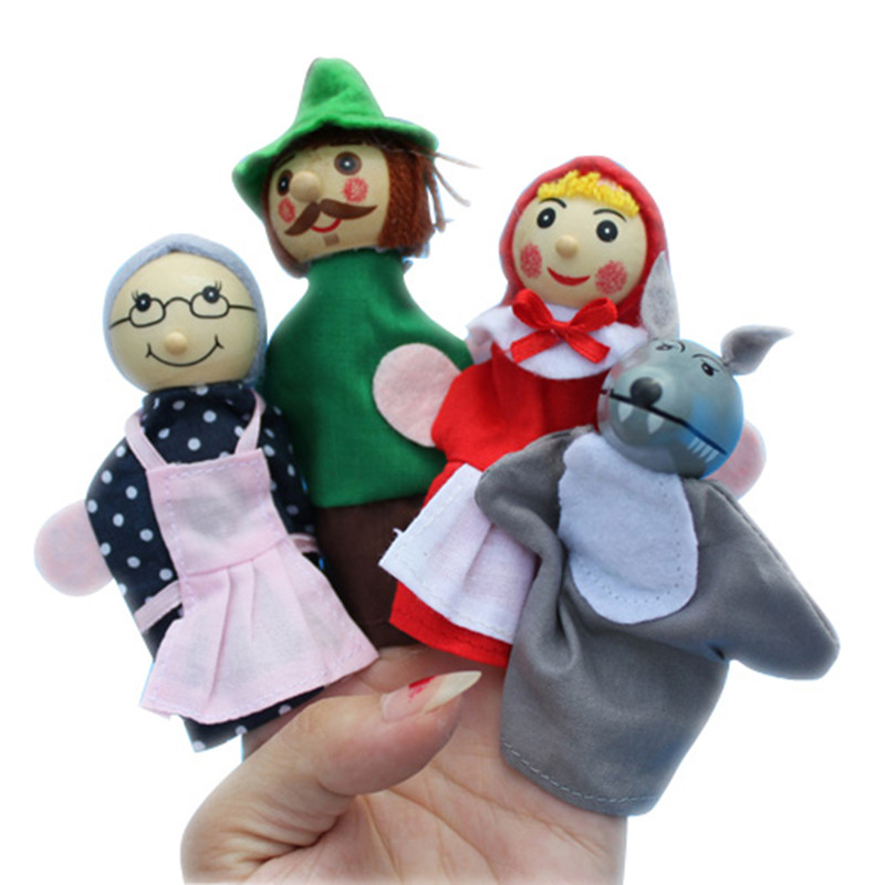4pcs Popular Fairy Tale Story Figure Puppets Little Red Riding Hood Figure Toys Kids Early Educational Toy(China (Mainland))
