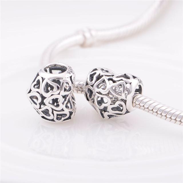 Оптовая продажа стерлингового серебра 925 очаровывает ажурные в форме сердца любовь бусины подходит европейский браслет серебряный стиль ювелирные изделия