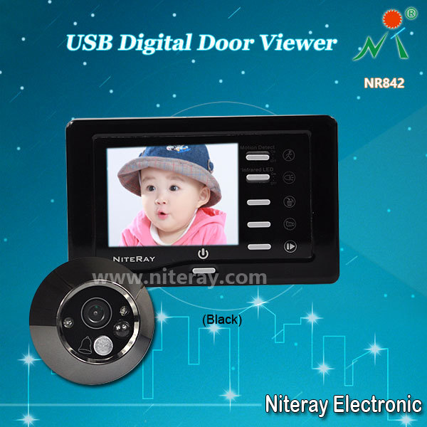 Wide Angle Digital Peephole Viewer Door Eye Camera With Battery Powered Doorbell Support Motion Detect & IR Infrared(China (Mainland))