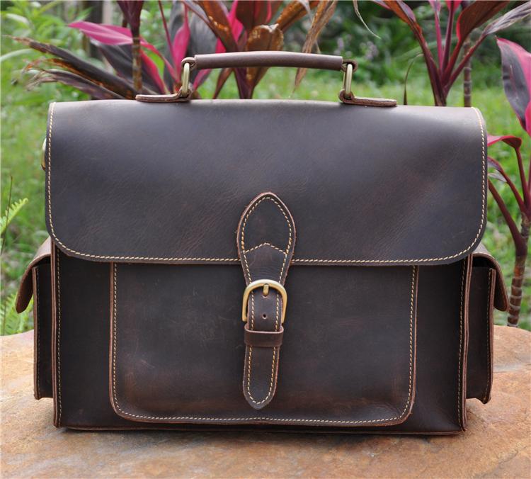2058,Mens genuine leather,cowhide,13 inch briefcase bag,messenger bag,shoulder bag,tote,handbags,document case,vintage,classic - Guangzhou Western Cowboy Leather Industry Co Ltd. store