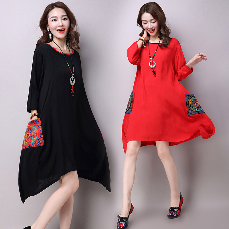 2016 Summer New Plus Size Women Folk Style Three Quarter Sleeve O-neck Cotton Linen Embroidered Dress Vintage Dress Vestidos 141(China (Mainland))