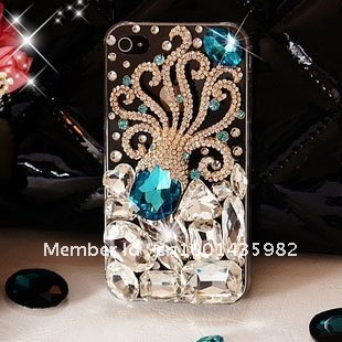 New arrival Wholesale 100% Brand New High Quality luxurious Blingbling octopus 3D Hard Case Cover for iPhone 5 5G New Design