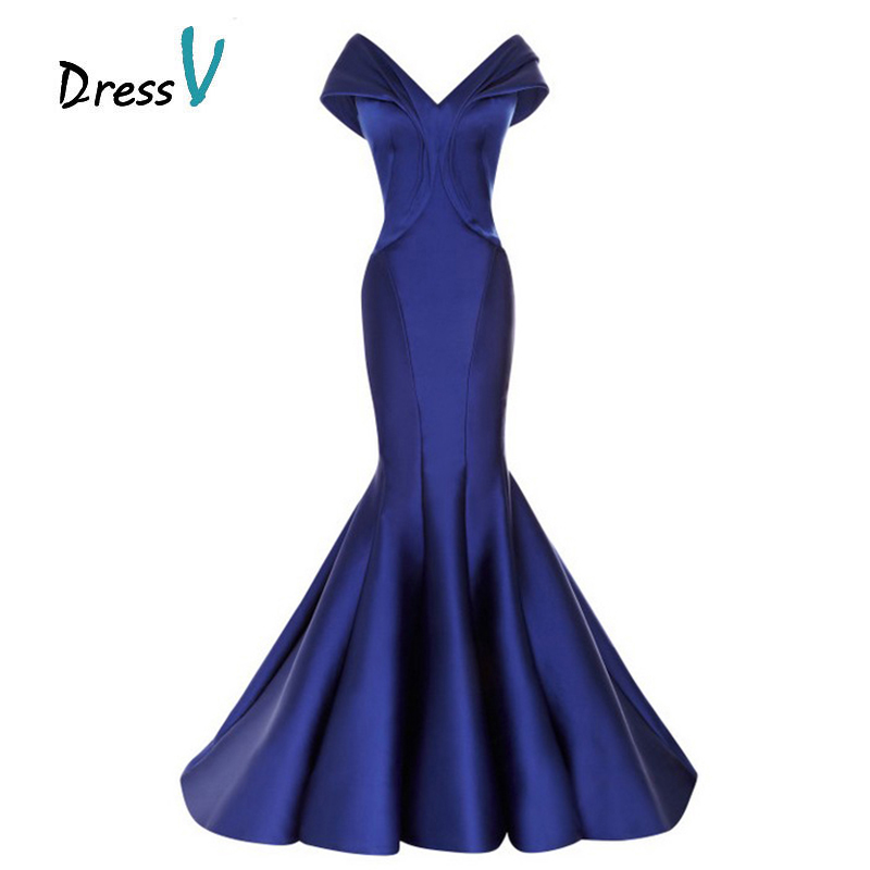Vintage Off The Shoulder Royal Blue Mermaid Evening Dresses 2016 Sexy Short Sleeve Women Formal Gown Long Prom Dress Custom Made(China (Mainland))