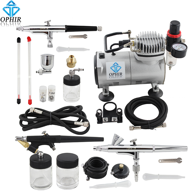 OPHIR Professional 3 Gun Airbrush Dual-Action & Single-Action Kits Air Compressor Temporary Tattoo Hobby Set #AC089+071+073+074