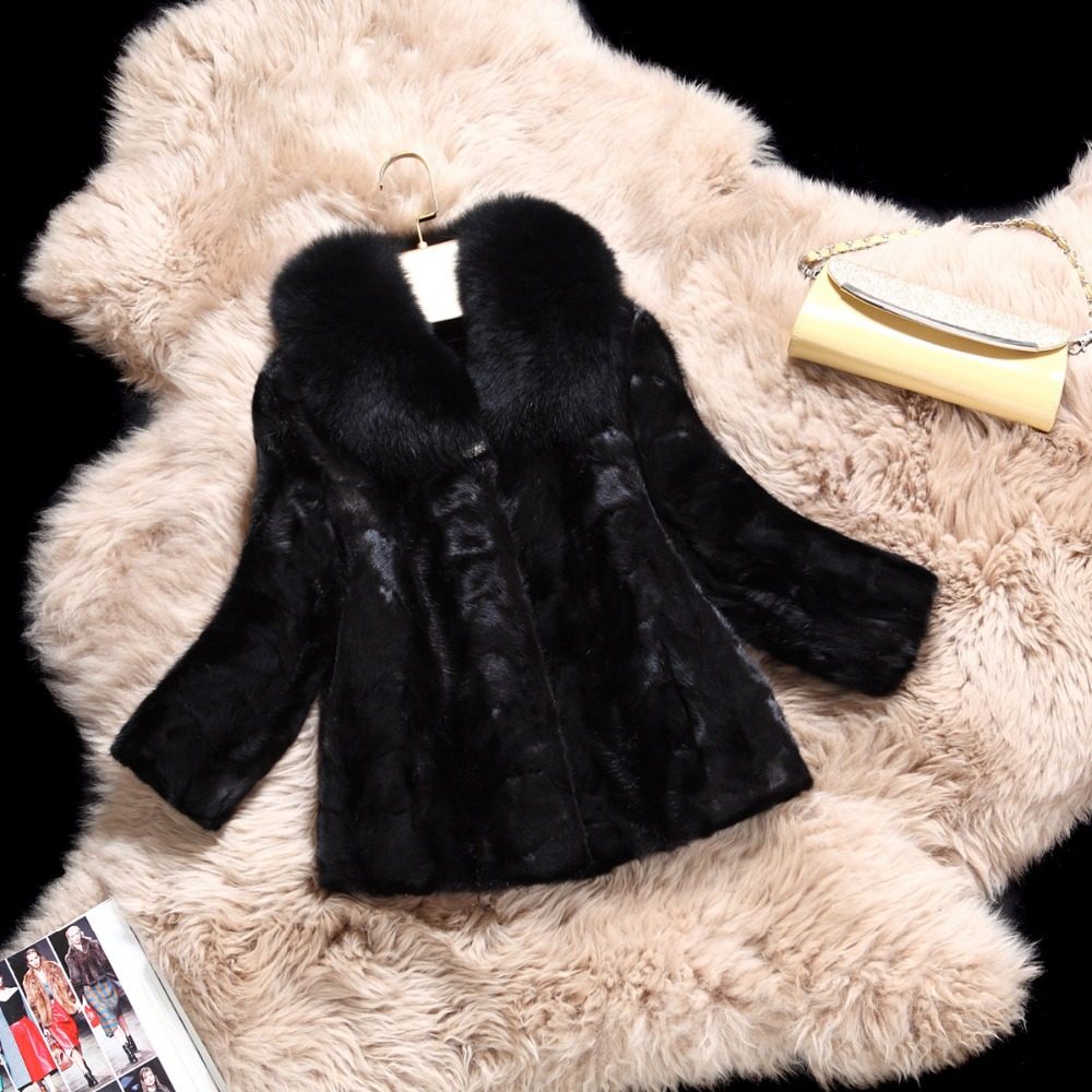 Fashion Three-quarters sleeves Short Genuine Mink Coat Real Natural Fur Coats Jackets Stitching Fox Fur Collar Winter Overcoat(China (Mainland))