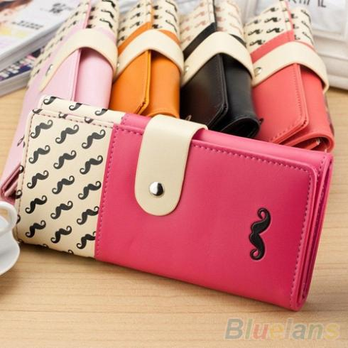 Women Mustache Long Clutch Purse Bag Hasp Snap Faux Leather Wallet Card Holder 1T2W(China (Mainland))