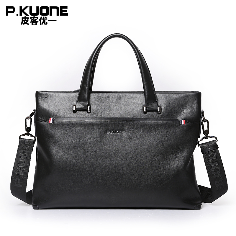 designer shoulder bags for men yjea  PKUONE Brand Design Genuine Cow Leather Briefcase Men Leather Handbag Shoulder  Messenger Bags Crossbody Laptop Bag
