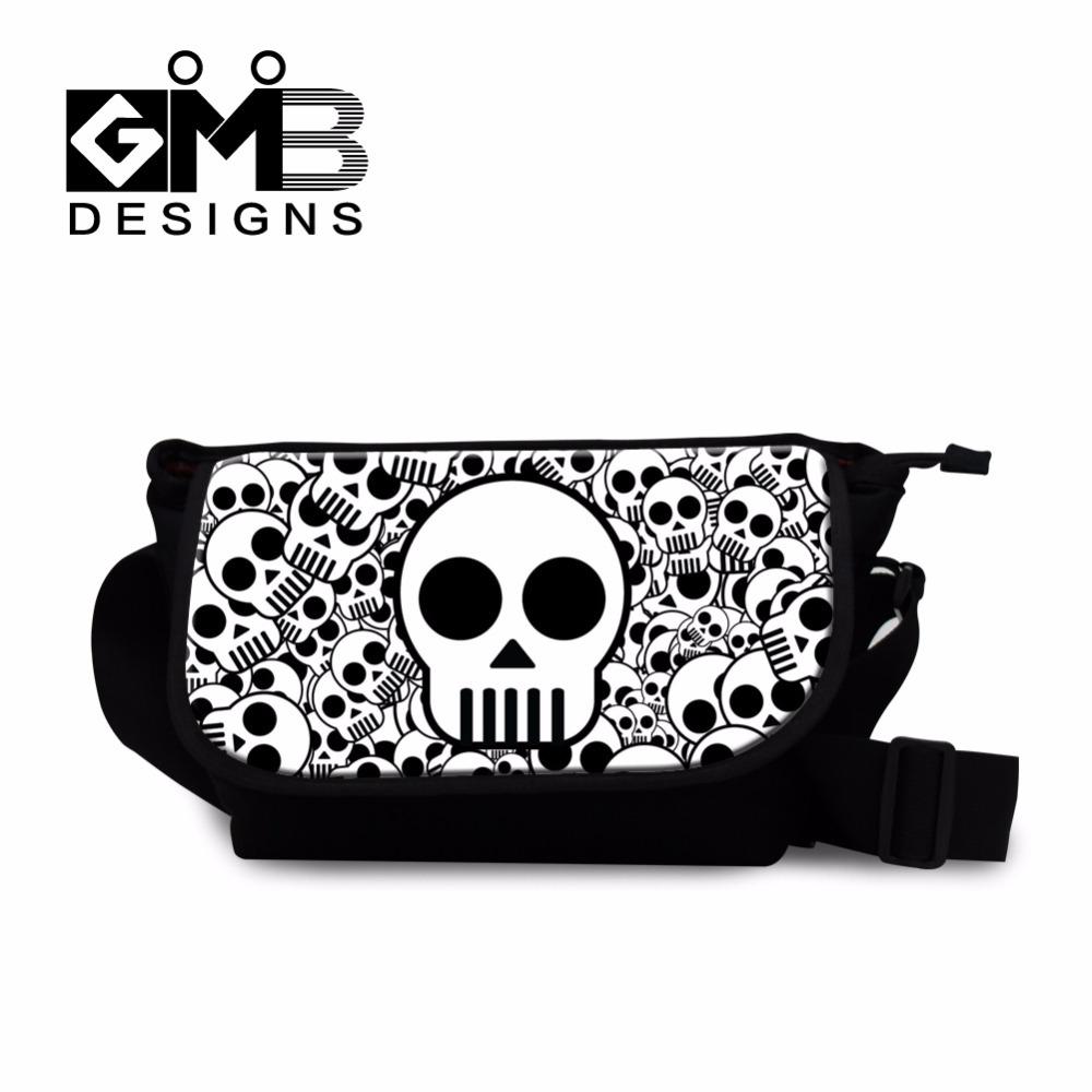 Unique punk skull head 3D printing single shoulder messenger bag canvas crossbody bag with zipper cheap designer small handbag(China (Mainland))