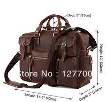 7028R-1 Rare Crazy Horse Leather Men's Briefcase Laptop Bag(China (Mainland))