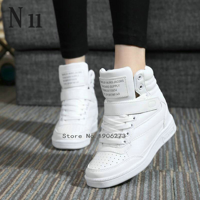 New 2015 spring autumn ankle boots heels shoes women casual shoes height increased high top shoes mixed color Free Shipping(China (Mainland))