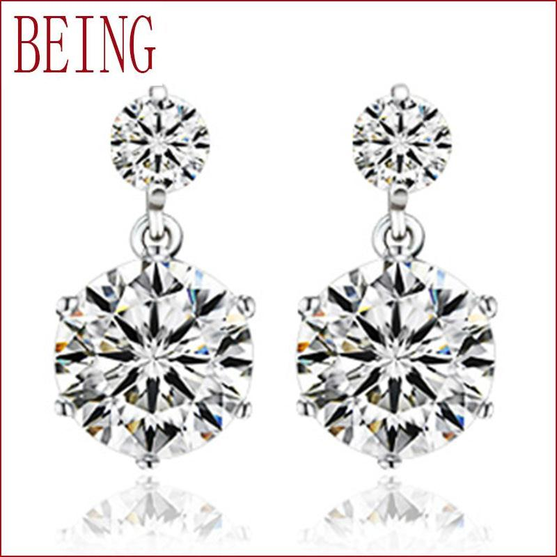 Hot fashion wild female luxury silver earrings twin white crystalline zircon earrings wholesale jewelry manufacturers(China (Mainland))