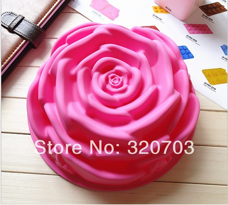 "8"" Big Rose Shape Food Grade Silicone Cake Mold Birthday Cake Bakeware Cake Decorating Silicone Tools D020(China (Mainland))"