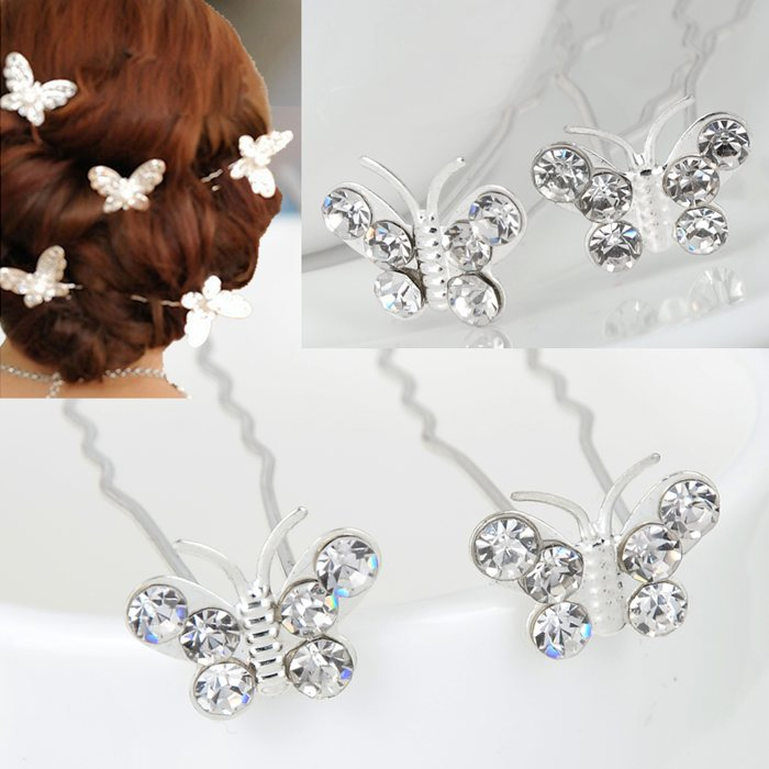 2 Wedding Bridal Bridesmaid Butterfly Crystal Rhinestone Hair Pins Clips Women Accessories - mixlot (no min order store)