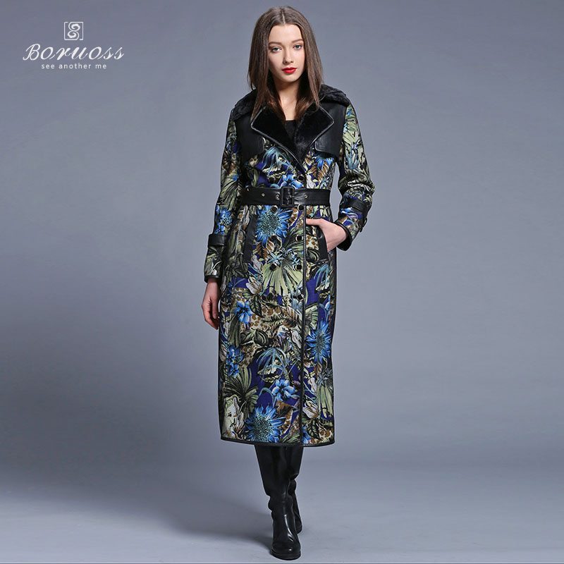 2015 New Attractive Spring Printed trench coat for women Fashion Imitation Fur Coat Long Belt trench coat Spring Boruoss-y3216