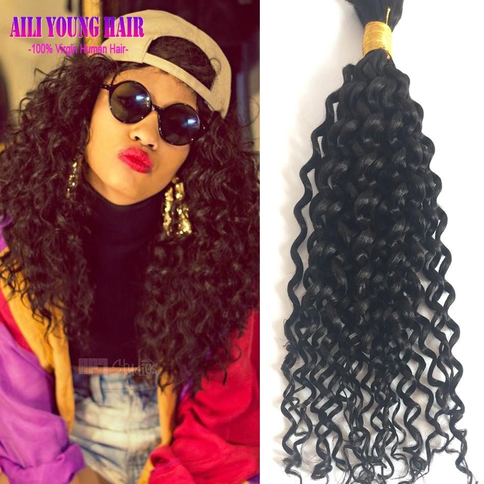7A Grade Brazilian Virgin Hair Kinky Curly Braiding Hair Bulk No Weft Unprocessed Human Hair For Braiding Bulk No Attachment