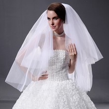 Buy Wedding Veil White 2 Layer Tulle Cut Edge Bridal Veil 2016 Cheap Wedding Accessories Comb Bridal Veils veu de noiva longo for $6.72 in AliExpress store