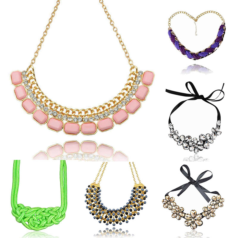 New 2015 Flower Ribbon Gem Pendant Necklace Gold Plated Bib Choker Collar Necklace Charming Exquisite Statement Jewelry Women