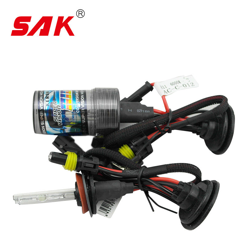 SAK 1pair ac 12v 55w h11 xenon hid replacement auto light source headlight lamp bulb 3000lm 6000K for car light source(China (Mainland))