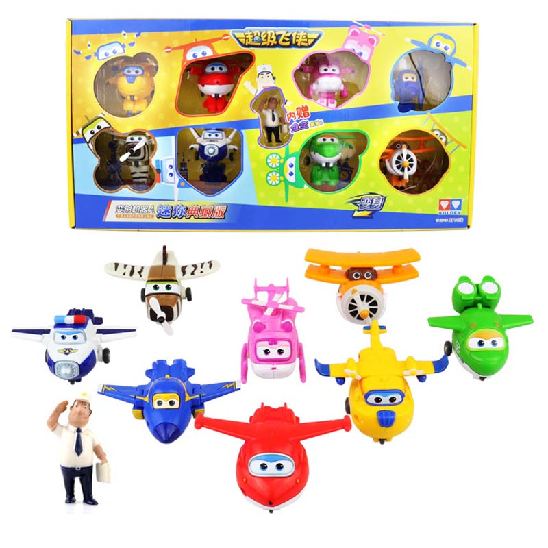 2016 New Styles 8pcs/lot Super Wings Toys Mini Planes 7cm Transformation Robot Action Figures Toys For Children Kids Gifts(China (Mainland))