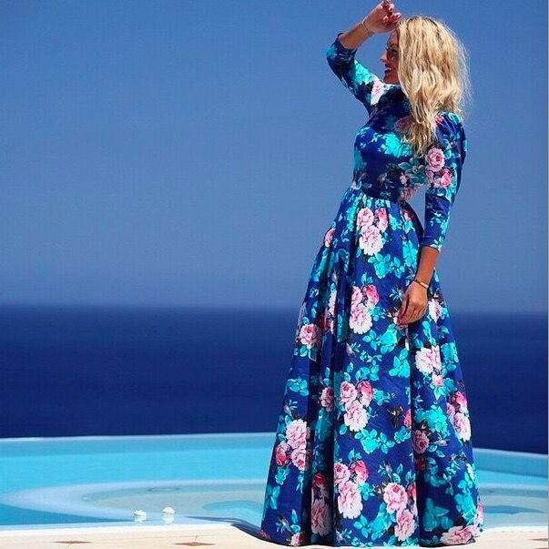 2015 new fashion print long dresses for women full sleeve beach dress female floral casual cute blue boho maxi summer dress(China (Mainland))
