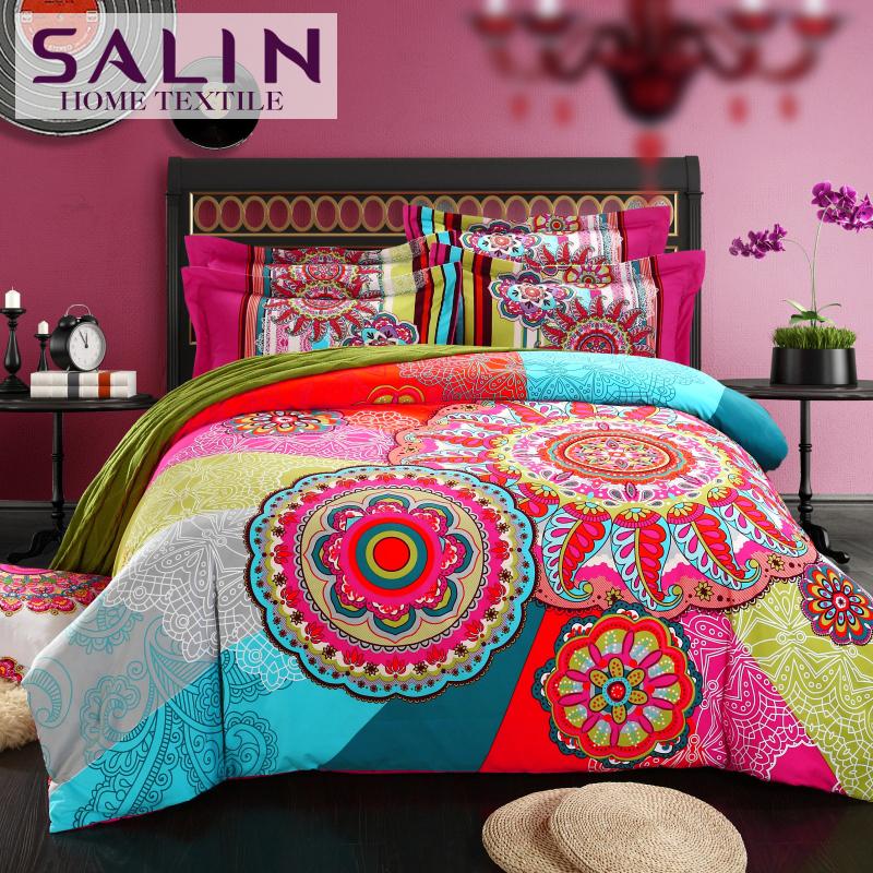 SaLin Bohemian Bedding Set Boho Style Duvet Covers Bedsheet 4pcs Queen King Size Bedclothes Soft Sanded Cotton Comforter Sets(China (Mainland))