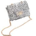vintage sequin pattern women shoulder bag fashion crossbody sling bag messange bag with twist lock and