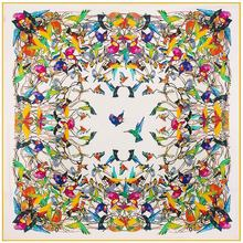 130*130cm Women large twill 100% silk square scarf birds print designer scarves luxury high quality lady shawl hijab headwear(China (Mainland))