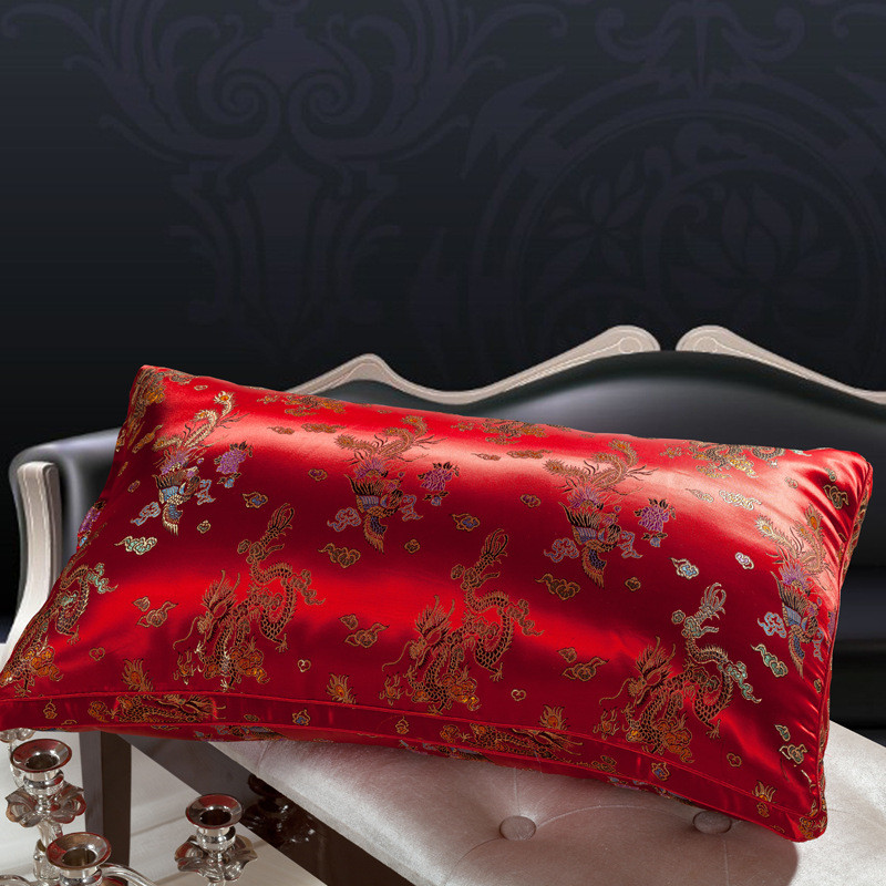 Jacquard neck pillow massager almohada red wedding dragon phoenix neck health care for sleeping 48*74 decor feather silk pillow(China (Mainland))