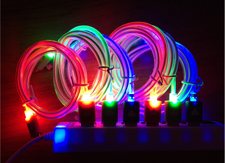 2015 New Arrival 1M Tube Luminous Visible LED Lighting Micro USB Data Sync Cable For iphone 5/5c/5s/6/6 plus for lightning cable(China (Mainland))