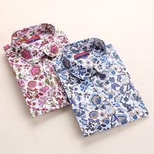 Clearance! Floral Women Shirts Long Sleeve Shirt Women Tops Cotton Blusas Femininas Turn-down Collar Casual Blouse Womens Tops(China (Mainland))