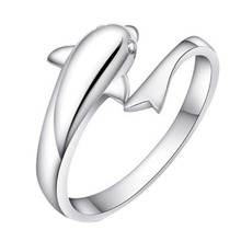 2016 New Fashion Romantic Dolphin Bay lovers ring opening adjustable fashion ring Drop Shipping(China (Mainland))