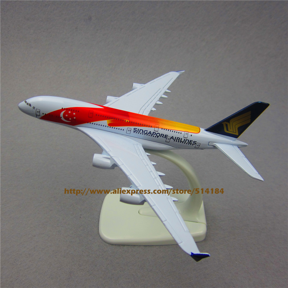 16cm Metal Airplane Model Air Singapore Airlines A380 Airbus 380 Aircraft Airways Plane Model W Stand Toy(China (Mainland))