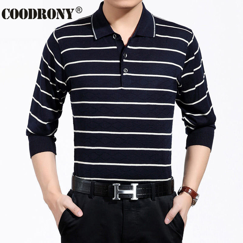 Striped long sleeve shirt men brand clothing turn down for Mens sweater collared shirt