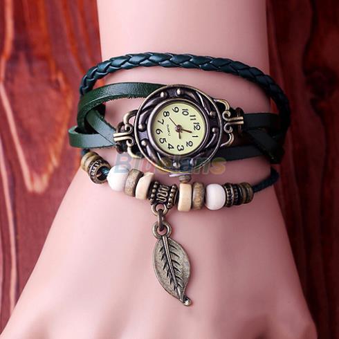 Butterfly Leaf Fashion leather Bracelet Water Quartz Hand Clock Women Wrist Watch Wristwatch Free Shipping 1ID5(China (Mainland))