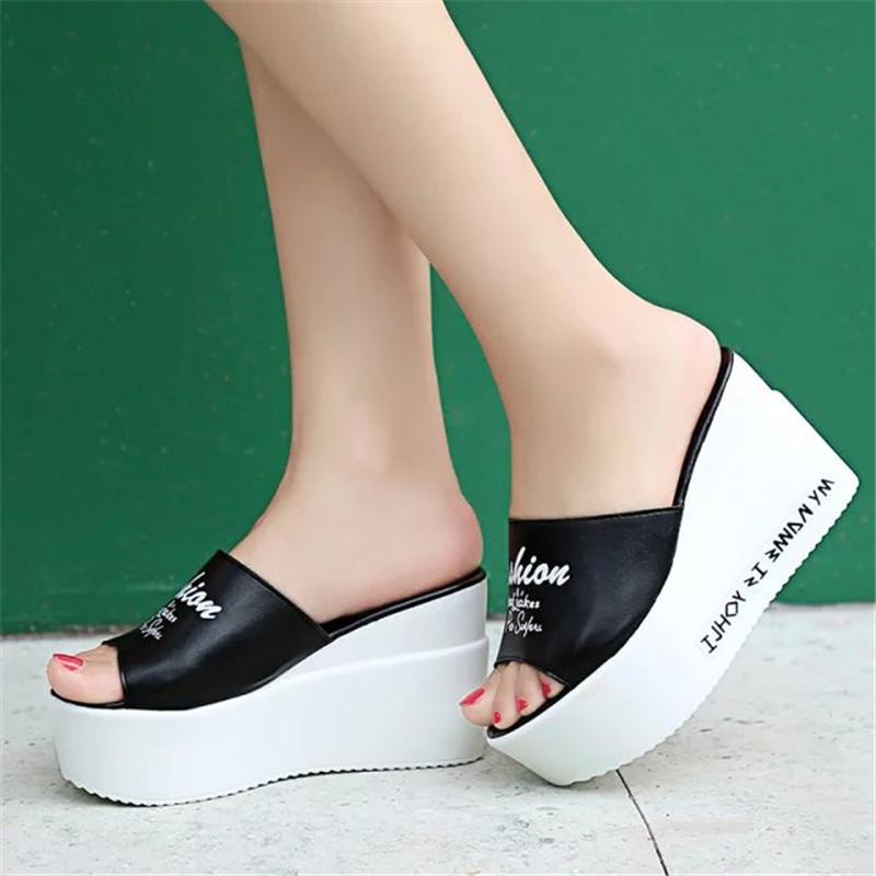 2016 Fashion Flip Flops Women word High Heel Slippers Summer Shoes Leather Soft  Platform sandals Ladies Wedges Womens Shoes 350