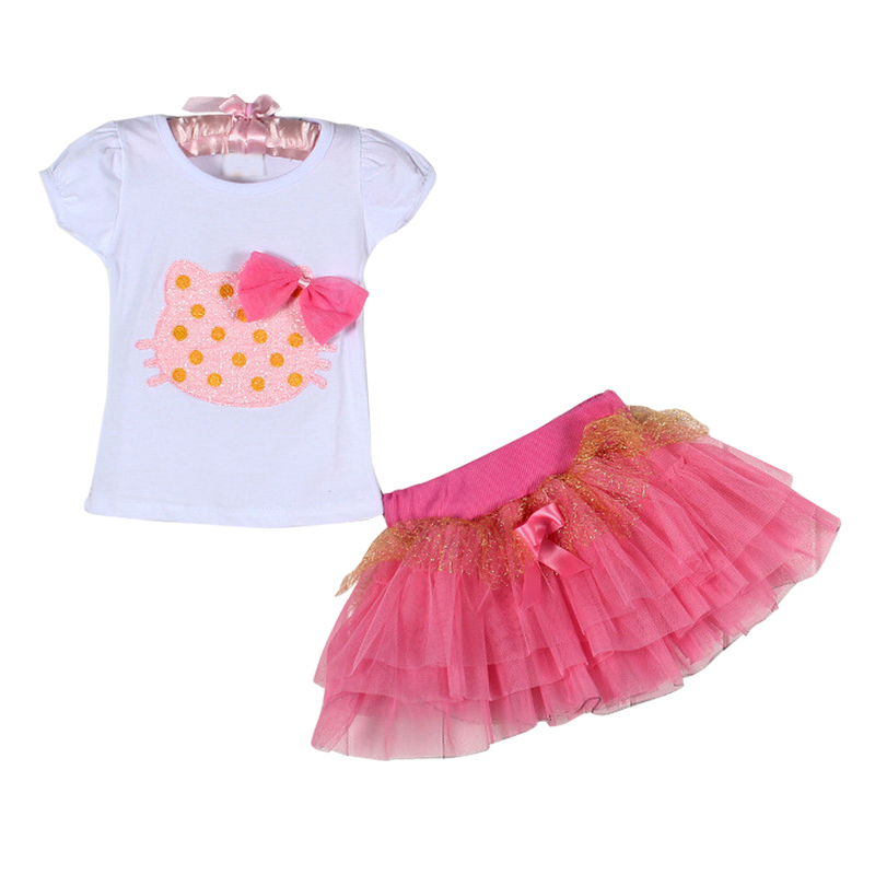 Children's clothing in the summer of 2016 children with short sleeves + skirt girl suits(China (Mainland))