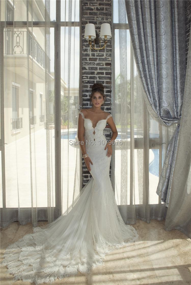 Fashionable Sexy Open Back Lace Wedding Dresses 2014 Spaghetti Straps Mermaid Bridal Gown Court Train(China (Mainland))